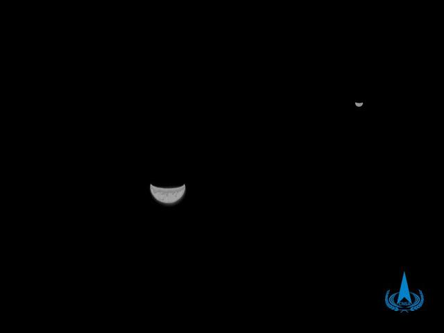 火星探测器天问一号传回首张地月合影