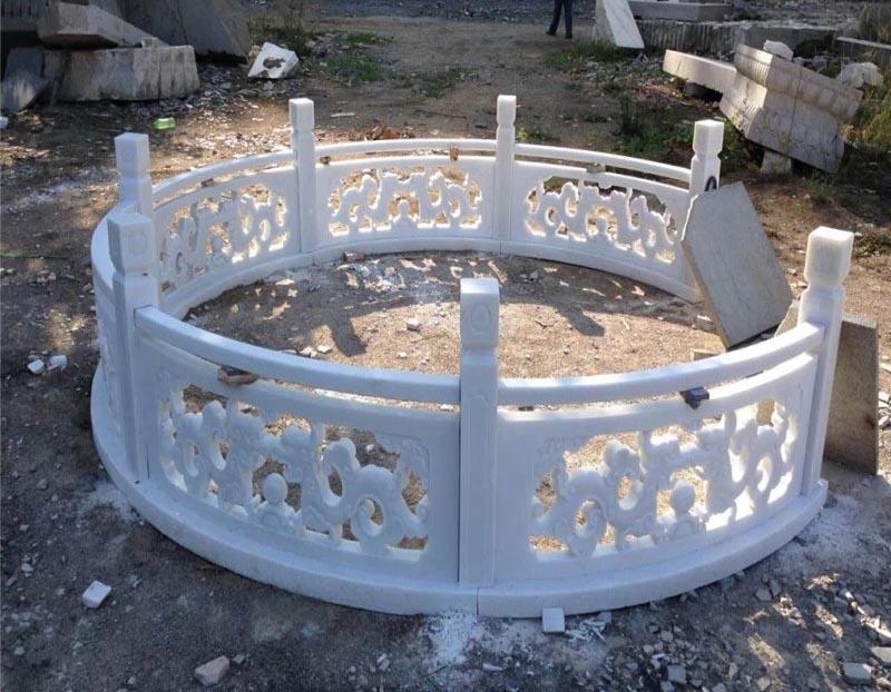 四川汉白玉厂家-汉白玉圆弧栏杆