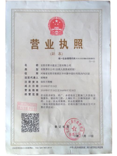 青丰营业执照