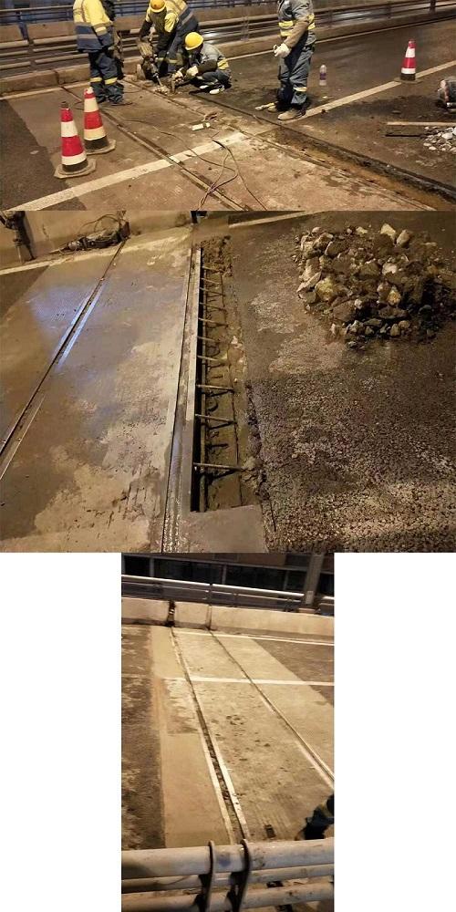 羊西线跨线桥收缩缝抢修
