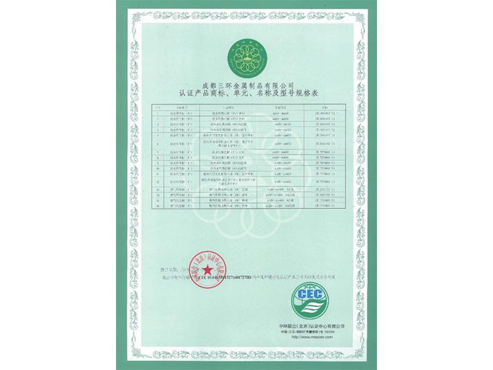 认证产品商标、单元、名称及型号规格表