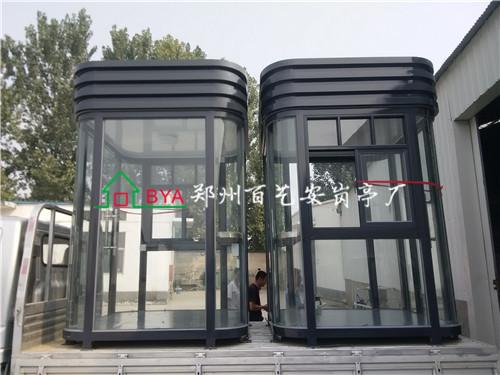 开封小西湖氟碳喷漆纯玻璃岗亭