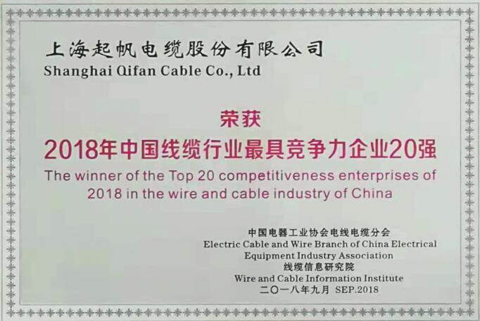 中国线缆行业..竞争力企业20强