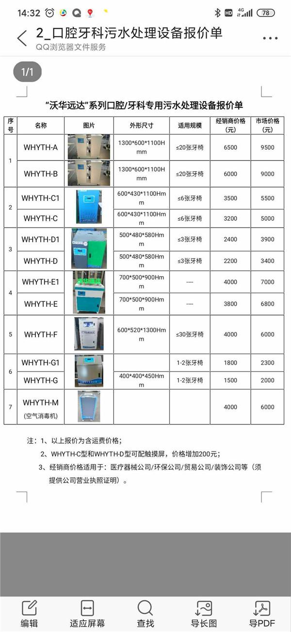 口腔污水处理设备报价单