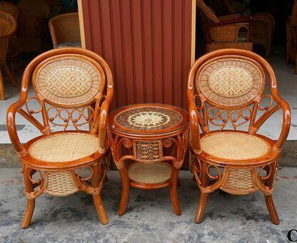 C-266钻石花椅 成都藤椅 成都藤木家具 茶楼藤椅