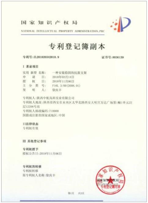 国家知识产权局zhuanli证书