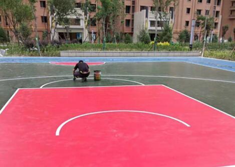 兰州幸福家园-硅pu篮球场施工