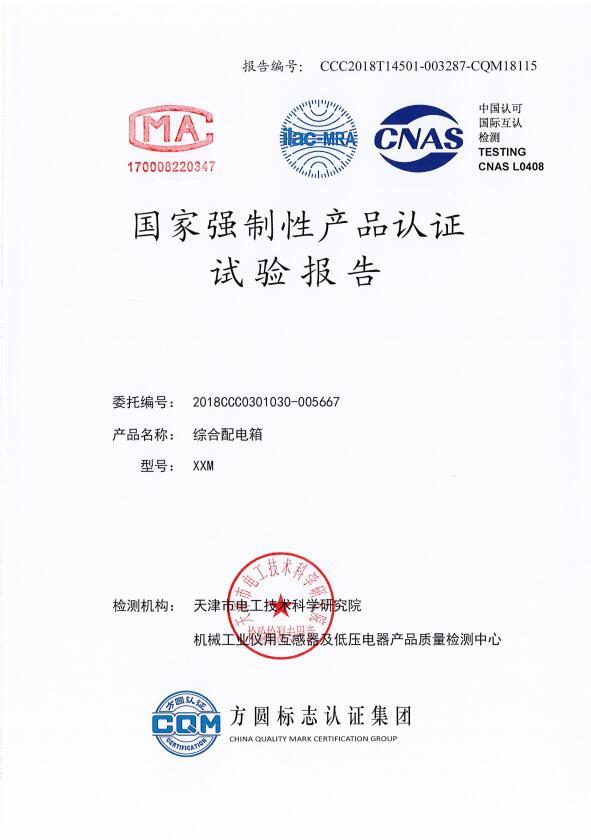 3C综合配电箱试验报告