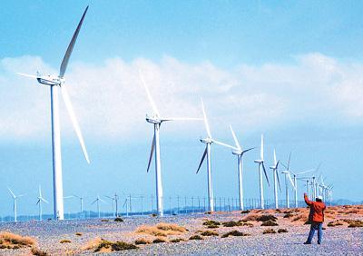 甘肃酒泉风力发电站---世界.大风力发电基地