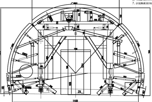 隧道台车三级分流浇筑
