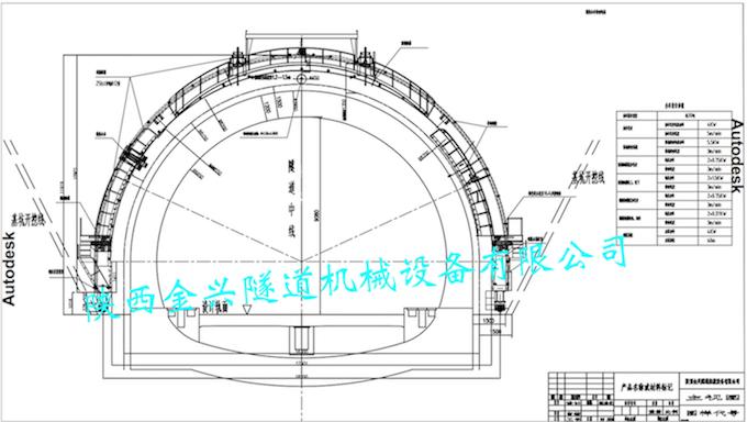 明洞外模挂布喷淋台车设计图主视