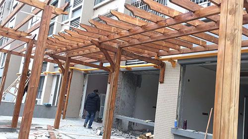 成都防腐木花架工程案例